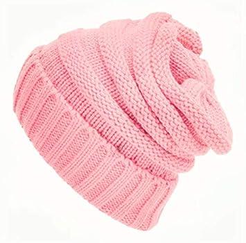 MEIDI Home Sombrero de Punto de Lana roja Transfronterizo para el otoño y el Invierno Gorras de Abrigo Gorro de Pelo Unisex al por Mayor (Color : Pink): ...