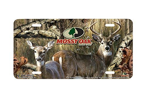 Airstrike Mossy Oak Camo Deer Hunting Front Decorative License Plate Buck and Doe Made in USA (Made of Metal)-8023