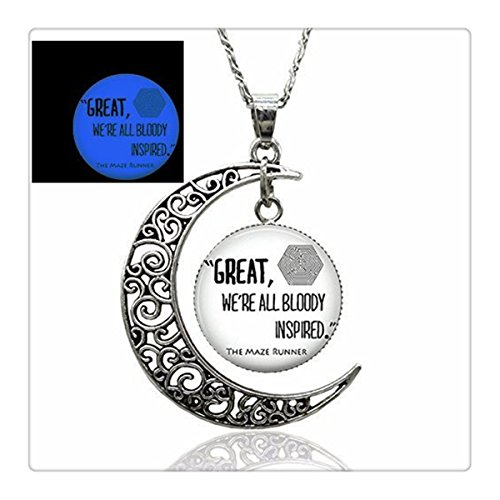 Glow the Maze Runner Quote Moon Pendant Necklace or Keychain Charm Pendant (8) (8)