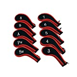 ELVES Neoprene Zipper Golf Club Iron Head Covers-set of 10 (RED)