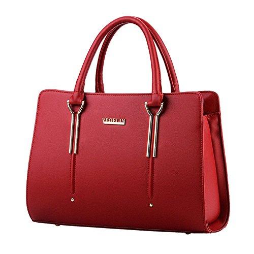 QCKJ-Lorenz-Borsa a tracolla da donna in stile europeo, in borsetta massello lettere, colore: rosso vino