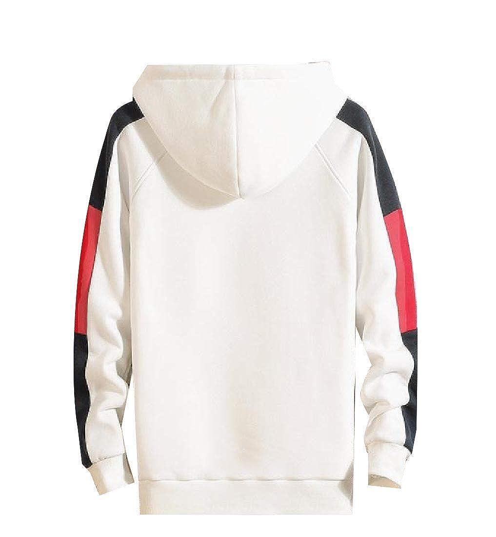 YUNY Men Fleece Drawstring Active Contrast Fall Winter Hood Sweatshirts White 2XL