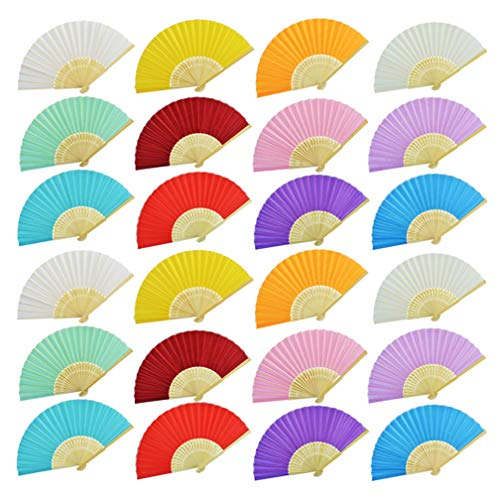 Hand Held Fans Bulk (Bantoye 24 Pieces Silk Folding Fans, Handheld Fans with Bamboo Frames for Dancing Cosplay Wedding Party Props Decoration, 12 Assorted)