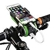 VECOO 10 in 1 Multifunction Waterproof Bluetooth Bicycle Audio Speaker Phone Mount Mobile Rack Holder for 3.5 -6 inches Phones 4400mAh Power Bank Bike Light Bike Speaker with Hands Free Calling