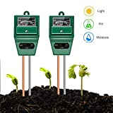 YEESON 2pcs Soil Ph Meter, 3-in-1 Soil Test Kit for Moisture, Light and pH,Great for Home and Garden, Lawn, Farm, Indoor & Outdoor Use