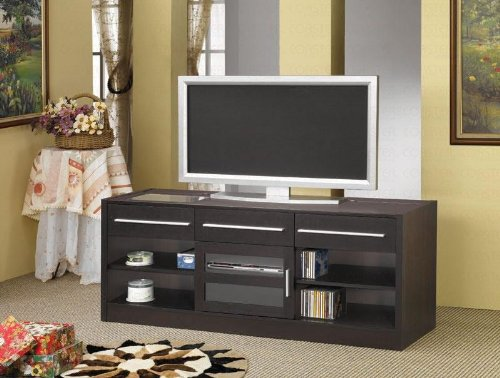 Modern Style LCD Plasma TV Stand Console With Storage Shelves And Drawers In Walnut Finish. (Item# Vista Furniture ()