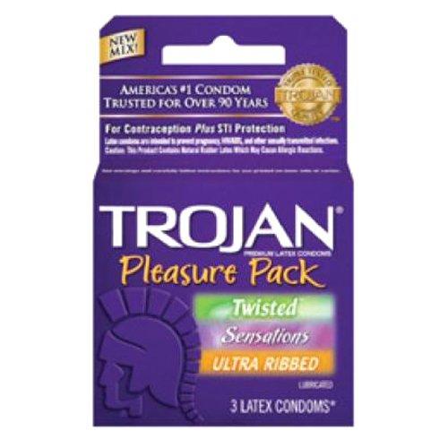 Trojan Pleasure Pack Condom, 3 Count (Pack of 6) by TROJAN