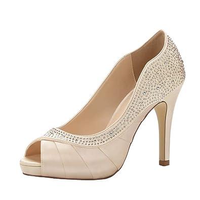 351fd9afe767 ERIJUNOR E1613 Women Peep Toe High Heels Comfortable Fashion Rhinestones  Satin Evening Prom Wedding Sandal Shoes