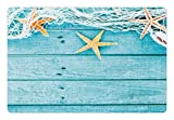 Ambesonne Starfish Pet Mat Food Water, Rustic Wood Boards Fishing Net the Ocean Animals Nautical Print, Rectangle Non-Slip Rubber Mat Dogs Cats, Turquoise White Orange