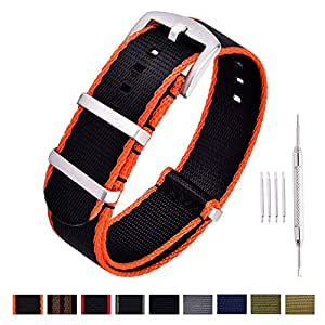Ritche NATO Watch Strap with Heavy Buckle 18mm 20mm 22mm Premium Seat Belt Nylon Watch Bands for Men Women (Black/Orange, 20MM)