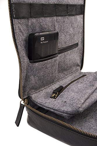 Dwellbee Travel Electronic Accessories and Cable Organizer, Large (Buffalo Leather, Black) by Dwellbee (Image #5)