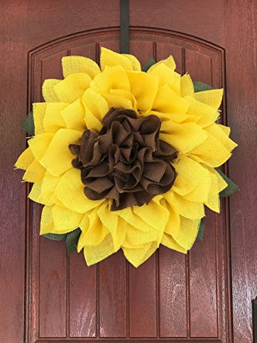 Sunflower Wreath, Spring Wreath, Summer Wreath, Burlap Wreath
