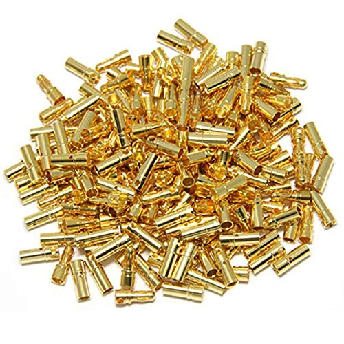 - 50 Pairs ShareGoo 3.5mm Male Female Gold Banana Plug Bullet Connector Plug for RC Battery ESC Motor with 1 Lipo Battery Strap