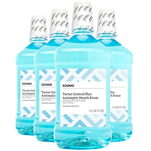 (Amazon Brand - Solimo Tartar Control Plus Antiseptic Mouth Rinse, Iceberg Blue Mint, 1.5 Liters (Pack of 4))