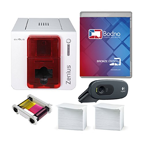 Evolis Zenius Single Sided ID Card Printer & Complete Supplies Package with Bodno Bronze Edition ID Software ()