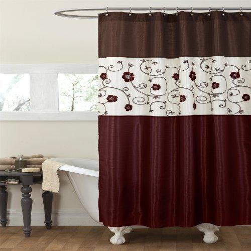 Lush Decor Royal Garden Shower Curtain, 72 by 72-Inch, Red b