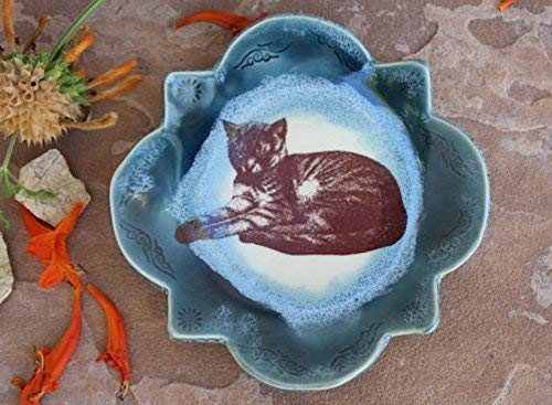 Teal and Blue Cat Dish, Handmade Ceramic Small Plate