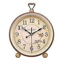 Mantle/Desk Clock Living Room Creative Desk Decoration Mute Clock Digital Clocks, Gold, 33×22×5.5cm