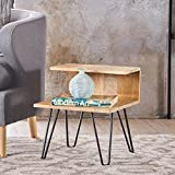 Glasston Natural Finished Mango Wood Hair Pin Leg Side Table