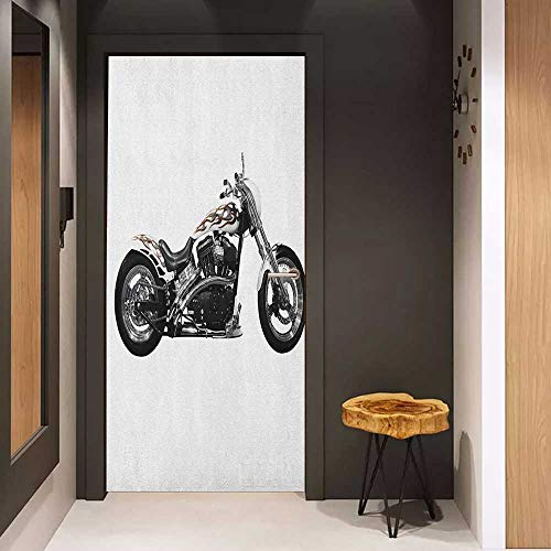 - Onefzc Pantry Sticker for Door Manly Motorbike Hipster Style Dangerous Risky Ride Driving Vehicle Throttle Chopper Sticker Removable Door Decal W23 x H70 Black White Grey