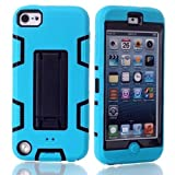 Lantier For iPod Touch 5th Case,Plastic 3 Layer TUFF Hard Cover Camo Hybrid Silicone Quakeproof Drop Resistance Protective Shell Case for iPod Touch 5 5th Generation with Stand and Screen Protector and Stylus Pen Kickstand Blue/Black
