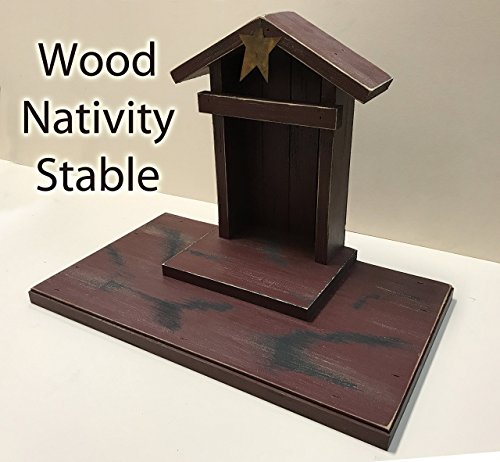 STABLE for NATIVITY Creche fits WILLOW TREE ANGELS (not included) Distressed Wood Rustic Wooden Stables Manger Angel for Nativity pieces Green Burgundy Red Antique White *No Assembly **SALE** by Wooden Hearts
