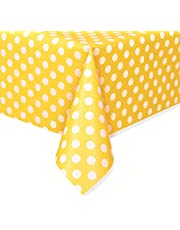 Unique Party 50263 - Plastic Yellow Polka Dot Tablecloth, 9ft x 4.5ft