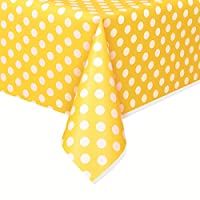 Plastic Yellow Polka Dot Tablecloth, 9ft x 4.5ft