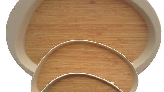 FIBERBAMBOO Conjunto de 3 Bandejas ovaladas de Bambú, Apto para ...