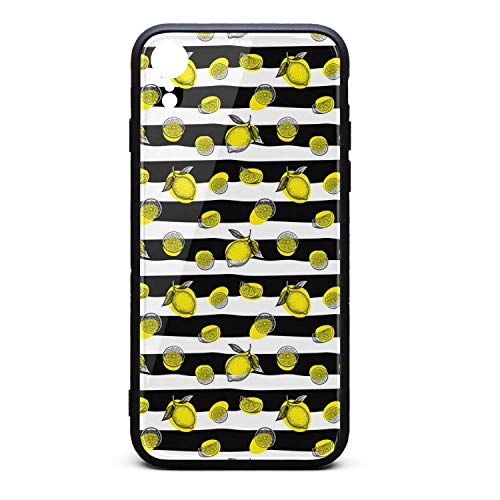 Hiunisyue iPhone XR Case The Lemon Black and White Stripes 9H Tempered Glass Back Cover Soft TPU Frame Scratch Resistant Shock Absorption Cover Case Compatible for iPhone XR