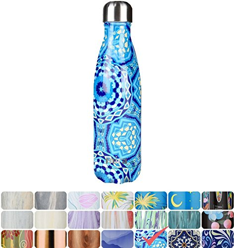 MIRA Vacuum Insulated Travel Water Bottle | Leak-proof Double Walled Stainless Steel Cola Shape Portable Water Bottle | No Sweating, Keeps Your Drink Hot & Cold | 17 Oz (500 ml) | Hexagon