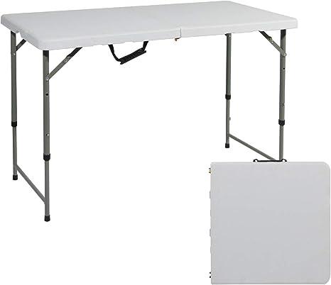 sogesfurniture Mesa Plegable Multifuncional con Altura Ajustable, Mesa Plegable Portátil Ideal para Camping, jardín, Picnic, Cocina, terraza, ...