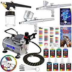 3 Airbrush Professional Master Airbrush Multi-Purpose Airbrushing System Kit with 6 Primary Opaque Colors Acrylic Paint Set - G22, G25, E91 Airbrushes and Air Compressor Complete System Includes: Master Airbrush Model G22 Airbrush Set Master ...