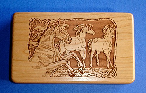 Western Decor Horses Rope Laser Engraved Cherry Wood Travel Jewelry Case Usa