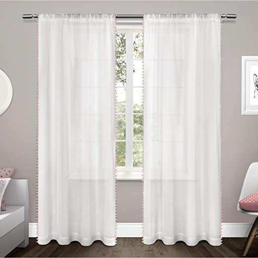 White with Sea Foam pom-poms 76x84 Set 2 Sheer Pole Top Window Curtain Panels