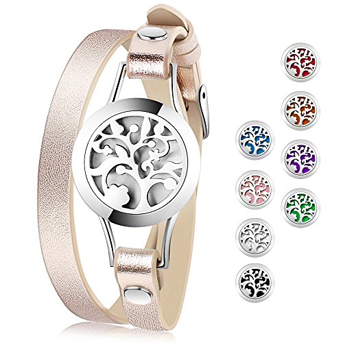 Best deals Essential Oil Diffuser Bracelet,Stainless Steel Aromatherapy Locket Bracelets Leather Band with Color Pads,Girls Women Jewelry
