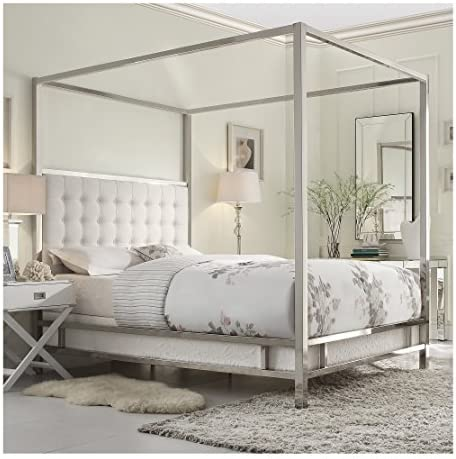 Modern Square Polished Chrome Canopy Poster Queen Bed