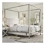 Modern Square Polished Chrome Canopy Poster Queen Bed with Off White Button Tufted Linen Upholstered Headboard Includes ModHaus Living (TM) Pen