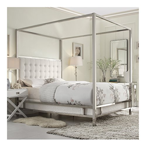 (Modern Square Polished Chrome Canopy Poster Queen Bed with Off White Button Tufted Linen Upholstered Headboard Includes ModHaus Living (TM) Pen)