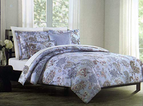 Tahari Home Maison Bedding 3 Piece King Size Luxury Duvet Comforter Cover Pillowcases Shams Set Jacobean Floral Paisley Pattern in Shades of Blue Pink White on Sky Blue ()