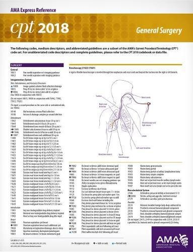 CPT 2018 Express Reference Coding Card - General Surgery