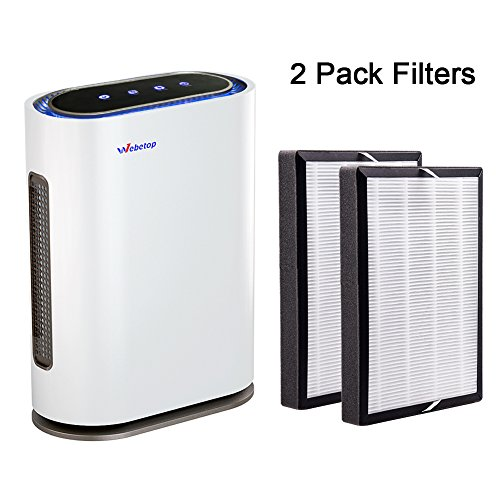 Webetop Air Purifier 3-in-1 True HEPA Filters Real Time Air Quality Indicator, Remote Control Home Air Filter Large Room, Dust, Allergies, Pets, Smoke, Mold & Odors