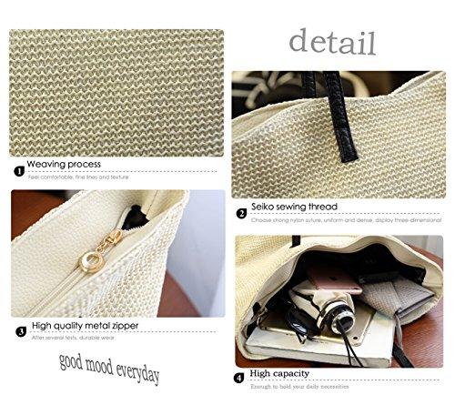 Regalo 1 Paglia Della Tendenze Tracolla A Donne Moda Le Sacchetto Hopeeye Spiaggia Bianco Sfondo Donna Del bianco 7qnpR