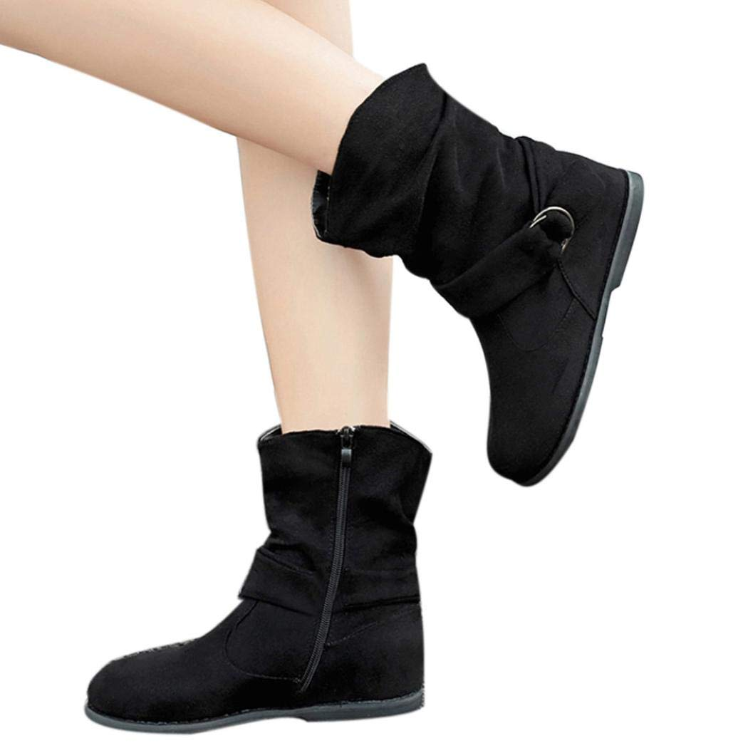 vermers Clearance Sale! Women Fashion Vintage Style Flat Booties Soft Shoes Women Set of Feet Ankle Boots(US:7.5, Black)