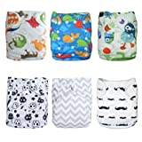 ALVABABY Cloth Diapers Pocket Washable Adjustable Reusable 6pcs with 12 Inserts 6DM08