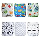 Alva Baby 6pcs Pack Pocket Washable Adjustable Cloth Diaper with 2 Inserts Each 6DM08