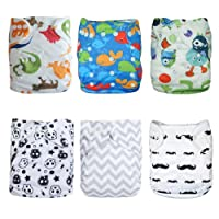 Alva Baby Cloth Diapers Pocket Washable Adjustable Reusable 6pcs with 12 Inse...