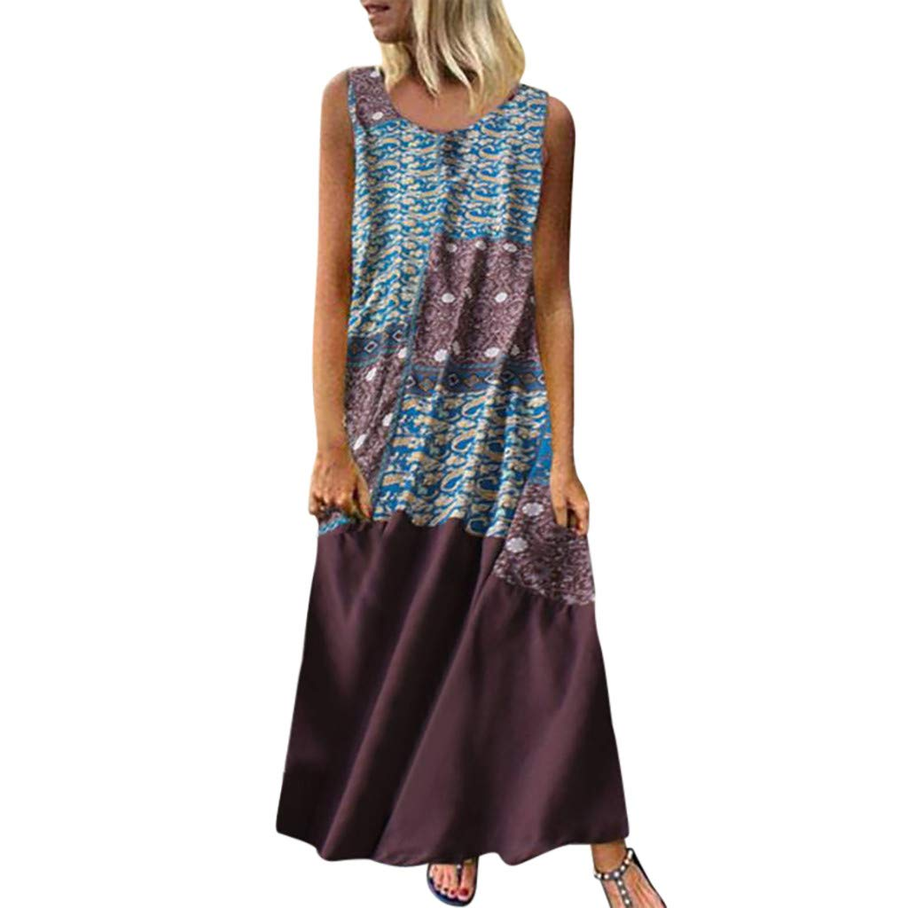 Women Sleeveless Loose Maxi Dresses Casual Long Dresses with Pockets Bohemia Flower Print Casusl Dress Brown