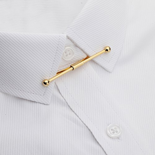 AnotherKiss Tie Collar Bar Pin Set for Men - 6 Pieces of Gold and Silver Two Tone by AnotherKiss (Image #3)