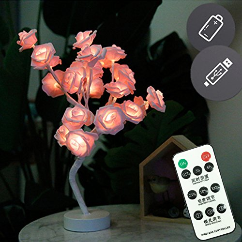 Bedroom Pink Rose Flower Table Lamp Night Light with Remote,USB/Battery Powered Desk Lamp Ambient Light for Restaurant Home Office Reception Hotel Decorations[24 Warm White LED Lights,3 Mode,Dimmable] by DealBeta